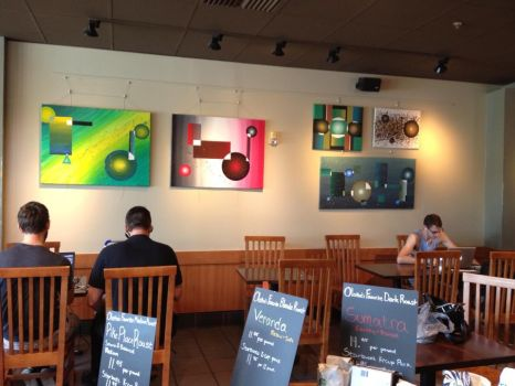 some of my paintings hung at starbucks by nikki8356