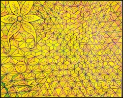 yellow abstraction hexa star by santosam81