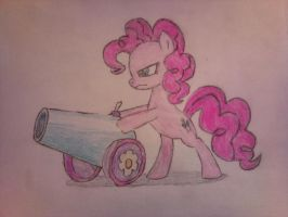 Angry Pinkie Pie aquired a cannon! by ImShySoIhide