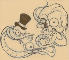 Skull and Snake tattoo flash by OniBaka