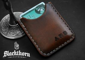 Money Clip Card Wallet - Front by Blackthornleather