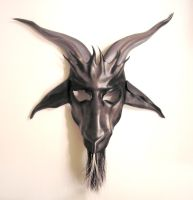Baphomet Leather Mask Grey and Black by teonova