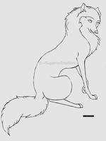 Cartoon wolf or dog line-art by SuperiorIntellect