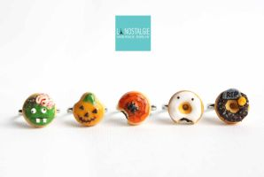 Halloween Donuts Adjustable Rings by LaNostalgie05