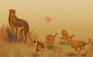 Cheetah family's practice time by Minks-Art