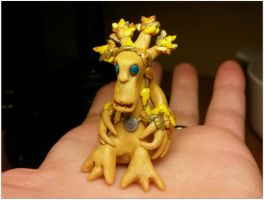 Tiny Polymer Clay Resto Druid in Treant Form by Euphyley