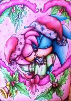 Sonamy under some Mistletoe - Colour pencil by MissTangshan95