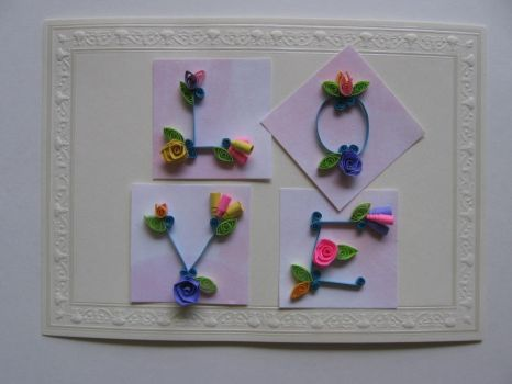 LOVE flowers in Quilling by eidatwong