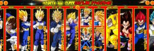 Vegeta All Supersaiyajin Evolutions by gonzalossj3