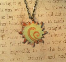 Solar Flare Yellow Hand Torched Enamel Necklace by FusedElegance
