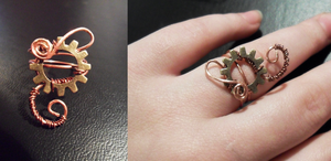 Steampunk Swirly Gear Ring by Zinantis