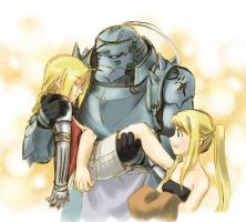 Ed, Al and Winry by lovefma