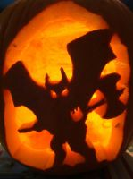 gargoyle pumpkin by Uponbatishwings