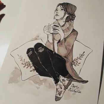 Girl with a cup of tea by Cinnyris