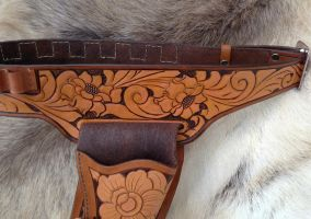 Hand Tooled Leather Holster Belt and Holster 2 by SonsOfPlunderLeather