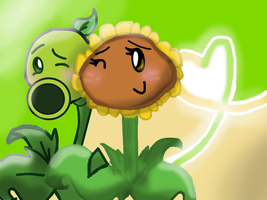 PvZ: Peashooter X Sunflower!!!~ by Crazy-Matroskin55