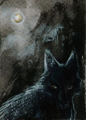 Halloween wolf ACEO by Kaos-Nest