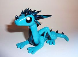 Blue Swirly Dragon by ByToothAndClaw