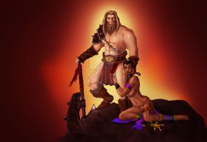 Barbarian and Witch Doctor by FatVonD