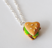 Heart Hamburger Necklace by ClayRunway