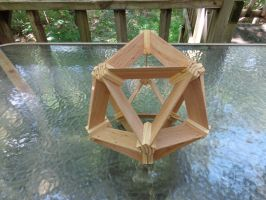 Strutted Icosahedron wood (2015) by albertpcarpenter