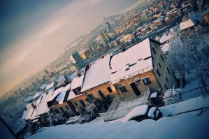Snowy morning above the city 2 by villewilson