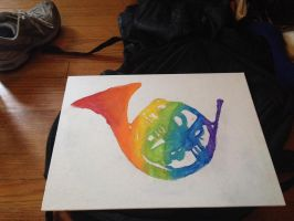 Rainbow french horn by Juggalette-23