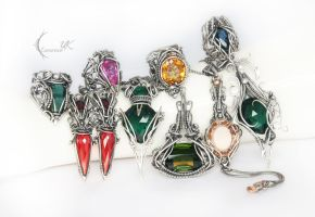 collection of necklaces and rings XIII LunarieenUK by LUNARIEEN