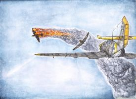 Dogfight Bf-109 G6  Spitfire MkXIV Watercolors by AlexanderCrW