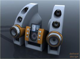 ipod deltoid speakers by deltoiddesign