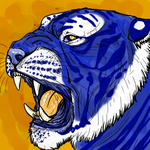 .Blue Tiger Paint. by CheshireSmile