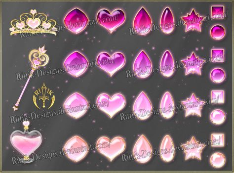 Colorful Gems - pink (downloadable stock) by Rittik-Designs