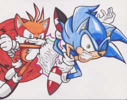 Tails vs. Sonic by 1BetaOne