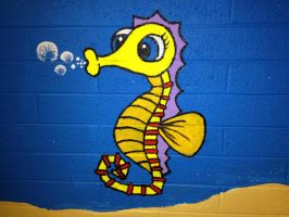 Sea Horse Painting by HigeOkami