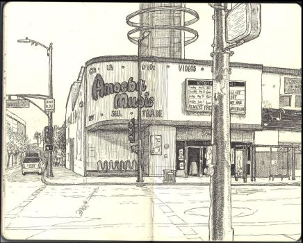 Sketchbook - Amoeba Music on Sunset in Hollywood by keiross