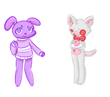 Sweater Bonnie and Cake Mangle by SteamPoweredRaptor