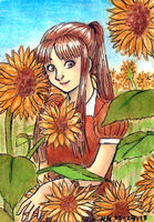 Aceo 38 - Sunflower Girl by SailingBreezes