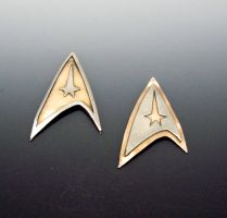 Star Trek Pendants Steel with Bronze by Peaceofshine
