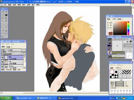 cloud and tifa by QiChen