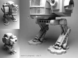 steampunk mecha 3D WIP by ZackF