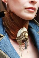 Steampunk Boho Tall feather collar by Pinkabsinthe