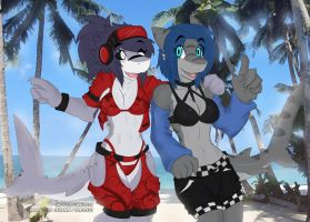 Azu shark and Xae Shark! by ALicede