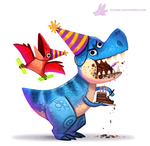 Daily Paint #1087. Birthdaysaurus by Cryptid-Creations