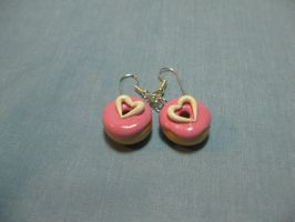 Strawb. Heart Frosted Earrings by kitcat4056