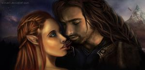 Kili Dwarf and Tauriel by Simaell