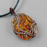 Red Glass, Faux Amber and Copper Necklace by Gailavira