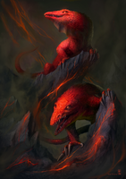 Fire Lizards by TyphonArt