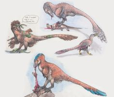 Three Dromaeosaur RPR Doodles by EWilloughby