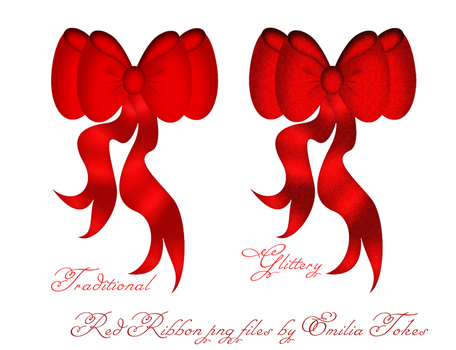 Red ribbons christmas stock by Hermit-stock