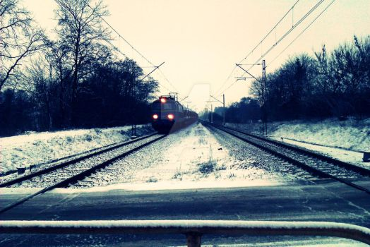 Train station in winter by oobserwatorka